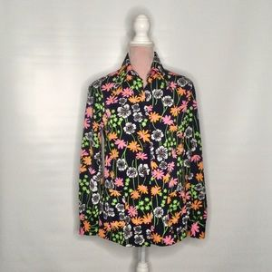 Style Rite vintage floral top. Pointy collar.